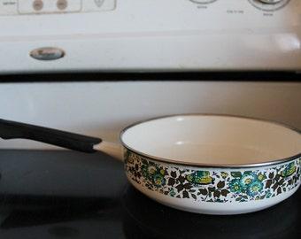 White Enamel Frying Pan c1970s