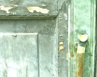 "Door Photography, Door Art, Rustic Architectural Photo, Green Shabby Door, Weathered Peeling Paint, Cottage Farmhouse Art- ""Mint Decay"""
