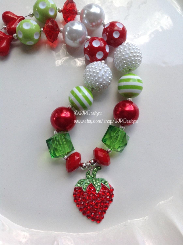 Strawberry necklace strawberry chunky necklace by jjrdesigns for Strawberry shortcake necklace jewelry