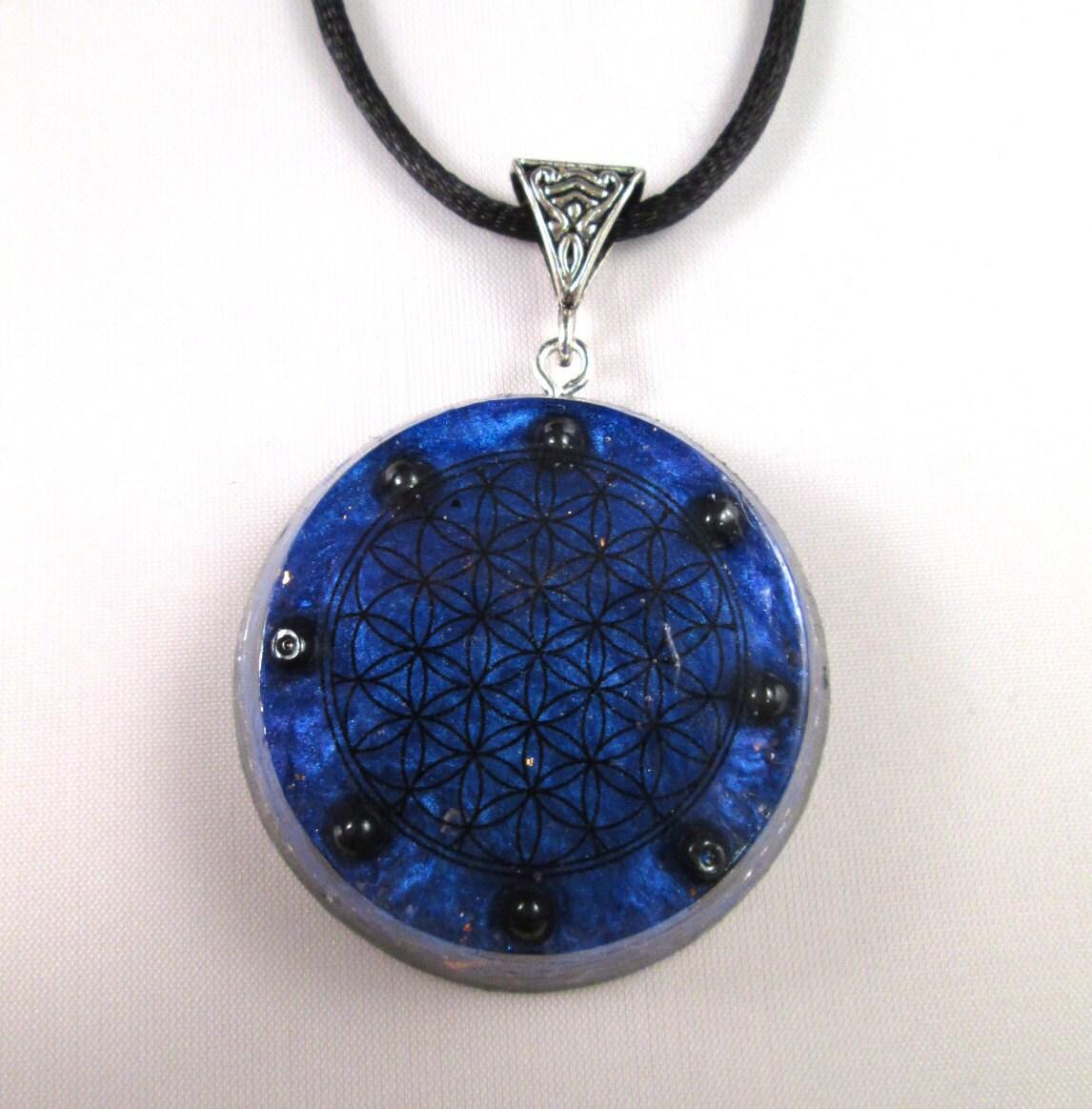 hematite flower of orgonite pendant by orgoniseyourself