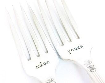 Mine Yours Fork Set - Hand Stamped Vintage Silverware, wedding forks, wedding gift, anniversary gift, stamped forks