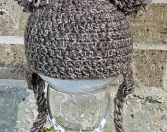Crochet Baby Pom Pom Earflap Hat; Newborn Photo Prop