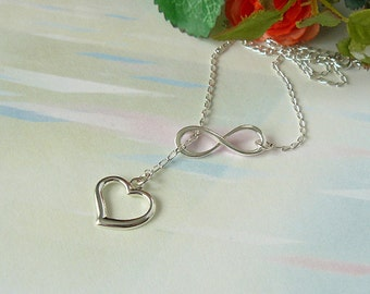 Heart and Infinity Necklace - Sterling Silver Infinity Heart Lariat - Love Forever - Infinity and Love Necklace