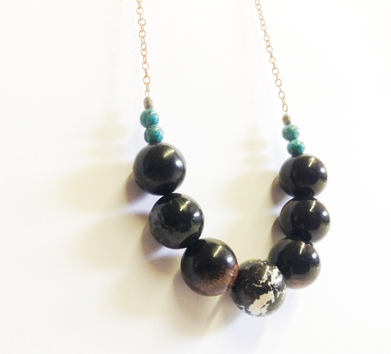 black petrified wood necklace