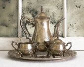 Vintage 5 piece Sheridan Silverplate Footed Tea Service, Garden Home Decor