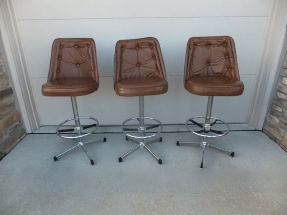 Admiral Industries Inc Tufted Bar Stools Set Of 3 Vintage