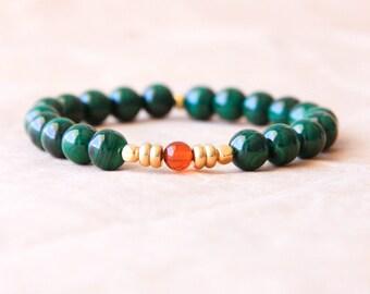 Yoga Bracelet, Buddhist Mala Bracelet, Wrist Mala Beads, Natural Jewelry, Malachite & Baltic Amber - Healing Energy, Positivity, Grounding