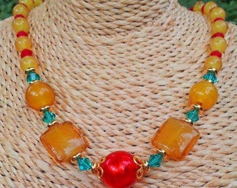 Necklace with genuine Venetian and Murano glass Beads, orange and lemon color - vibrant and tangy colors -
