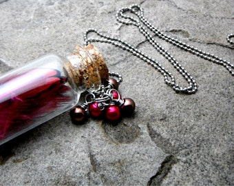 Pink Feather Necklace, Real Feather Necklace, Charm Necklace, Mini Glass Bottle Necklace, Cork Bottle Necklace, Feather Jewelry