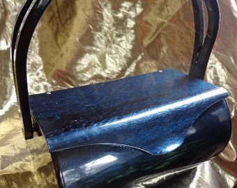Vintage  Wilardy Deep NAVY Pearlized Lucite Purse with Split Style Handle *  Stunning B26