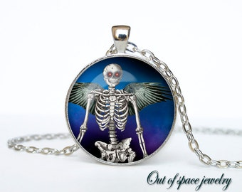 Gothic skeleton pendant steampunk necklace halloween scary  jewelry (PGS00008)