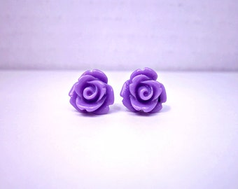 Lavender Rose Earrings; Purple Stud Earrings; Lead and Nickel Free Rose Studs; Purple Rose Bud Earrings; Flower Stud Earrings; Rose Jewelry