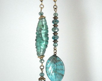 Boho romantic asymetrical earrings, dark turquoise, hand made by kalani