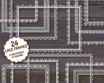 "24 Lace Frames Clipart: ""LACE FRAMES 1"" Digital lace frames clipart square and rectangle  for invites, wedding, cards"