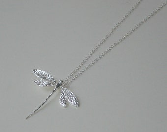 Sterling Sliver Dragonfly Necklace - Pendant on a Chain - 925 - Everyday Modern Summer