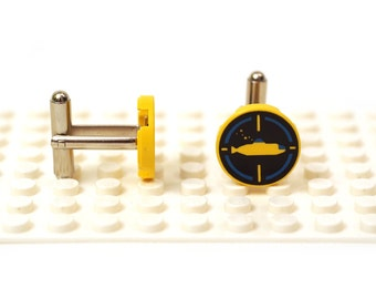 Submarine disc cufflinks. Cufflinks made with LEGO(R) bricks.    Cuff links Cufflink Wedding gift
