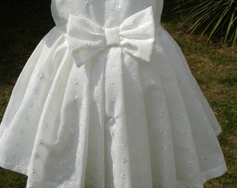 Ivory Embroidered Cotton Anglais Baby Dress