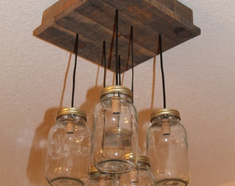 Mason Jar Chandelier - Pallet Wood Lighting - Mason Jar Lighting - 6 Canning Jar Lamp - Rustic Lighting
