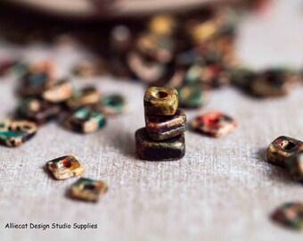 3gm Greek Ceramic Autumn Rust 4mm  Little Chip Beads (M007)