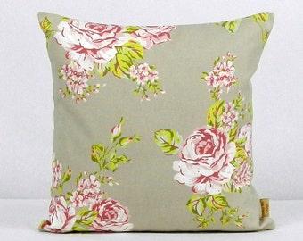 16x16, pillow, throw pillow cover, Decorative Throw pillow, English Rose, Taupe, throw pillow, Floral pillow case, 16x16, handmade, floral