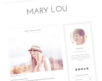 Premade Blogger Template - Modern Blogger Design - Responsive Blog Template - Minimalist Blog Clean Template - Gray and White - Mary Lou