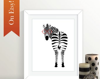 Zebra with Glasses :  8x10 Print, Zebra, Animal Art, Animal Print, Zebra Print, Hipster
