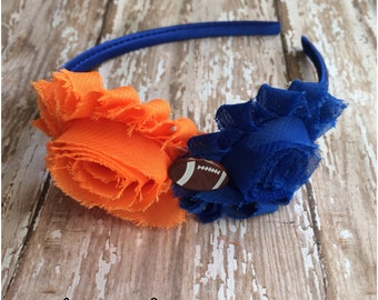 Florida Gators Inspired Shabby Chic Football Headband, UF Inspired  Orange and Blue Headband, Girls Headband, Adult Headband