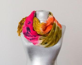 Tye-Dye Scarf Batik Scarf Boho Scarf Bohemian Scarf Rainbow Scarf Multicolor Women's Accessories Gift for Her Fashion Accessories