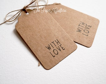 """Kraft """"With Love"""" Paper Gift Tag for Wedding and Party Favours - Set of 24"""