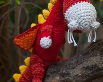 Red Dragon Doll, Crochet- Amigurumi Dragon toy