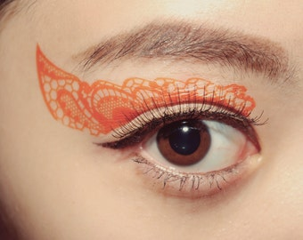 Makeup Temporary Tattoo Eyes Eyeshadow applique Orange Lace new year gift party cosplay mardigras halloween costume makeup assesories