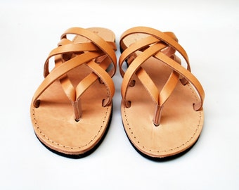 Triple Leather Women Sandal in Natural Brown Color