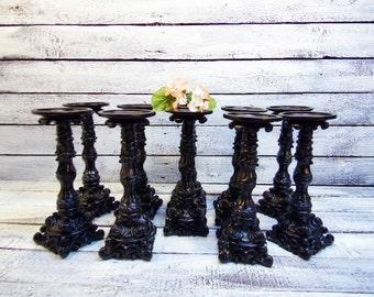 Set of  10 Pillar Candle Holder  Black Satin Wedding Candles or You Pick Color