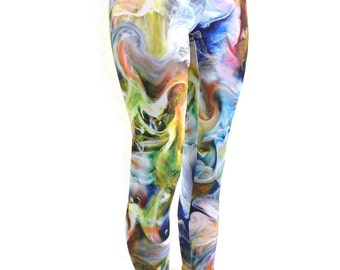 Swirling SMOKE Print High Waist Lycra Spandex  Leggings  -E7513