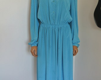 Vintage 1980s Halston Dress Blue Satin Day Dress Career S / M