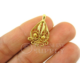 10 pc Filigree Mini Chandelier Earring Component Pendants, 22K Gold Plated Earring Components with Multiple Loops, Turkish Jewelry