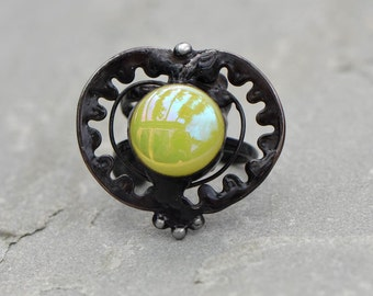 Large ring Eve green apple ring seduction prom stained glass ring adjustable big metalwork striking ring jewelry gift artistic ring designer