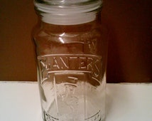 Vintage 1981 75th Anniversary Planters Peanut Glass Jar With Lid, Kitchen Storage, Collectible Glass