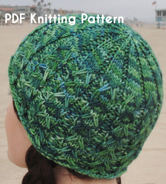Knit Beanie Pattern Worsted Weight : PDF Knitting Pattern: SoCal a fun-to-knit beanie in worsted