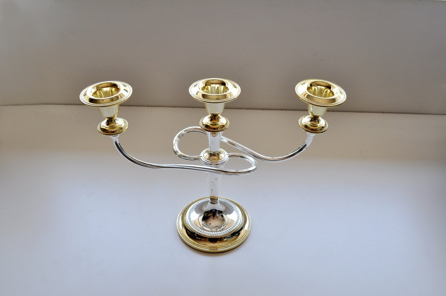 vintage gold and silver mixed metal candelabra