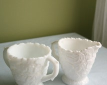 Westmoreland Milk Glass Sugar Bowl and Creamer.  Creamer and Sugar Bowl with Embossed Leaves. Rare Milk Glass Collectible Item.