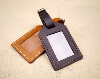 His and Hers Handmade Leather Luggage Tag Set - Honeymoon or Wedding Anniversary Gift