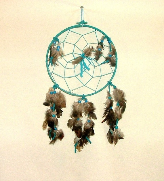 Dream catcher 8 turquoise with brown and grey by for Dreamcatcher beads meaning