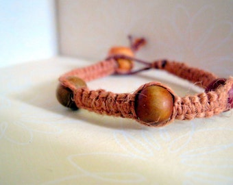 Natural Light Brown Hemp Bracelet with Simple Wooden Beads