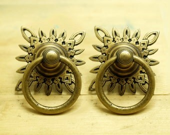 244 inches lot of 2 pcs vintage celestial star cabinet solid brass knob drawer handle pulls
