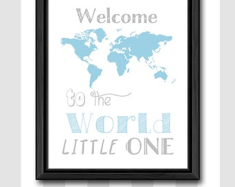 newborn baby boy gift travel theme, world map baby nursery art, welcome to the world little one, world map nursery decor, little traveler