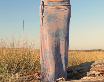 TIE DYE boho gypsy festival dance beach tube pencil maxi  midi skirt with side drawstring (stretch waist optional)