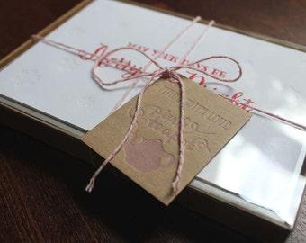 8 Pack Letterpress Christmas Cards