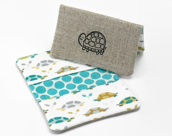 Business Card Case, Credit Card Holder, Fabric Gift Card Wallet in Turtle Print