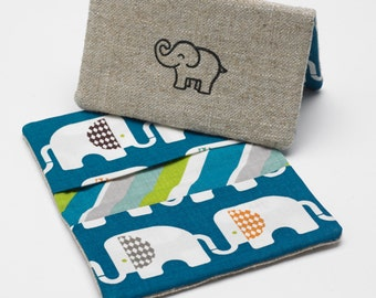 Business Card Case, Credit Card Holder, Fabric Gift Card Wallet in Organic Blue Elephant